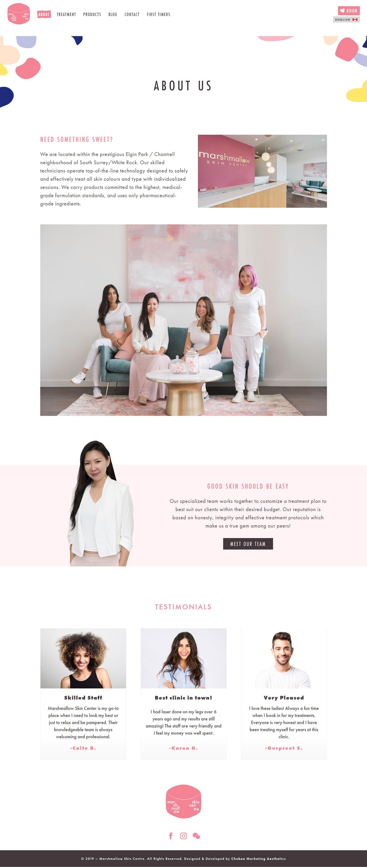 Marshmallow Skincare Centre Website Development
