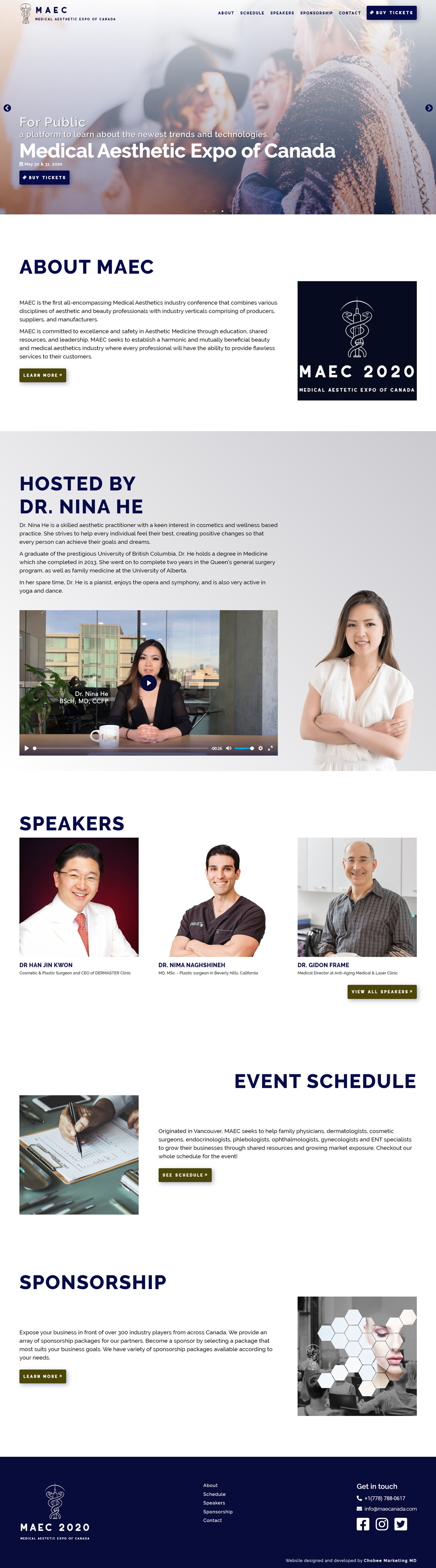 Medical Aesthetic Expo of Canada Website