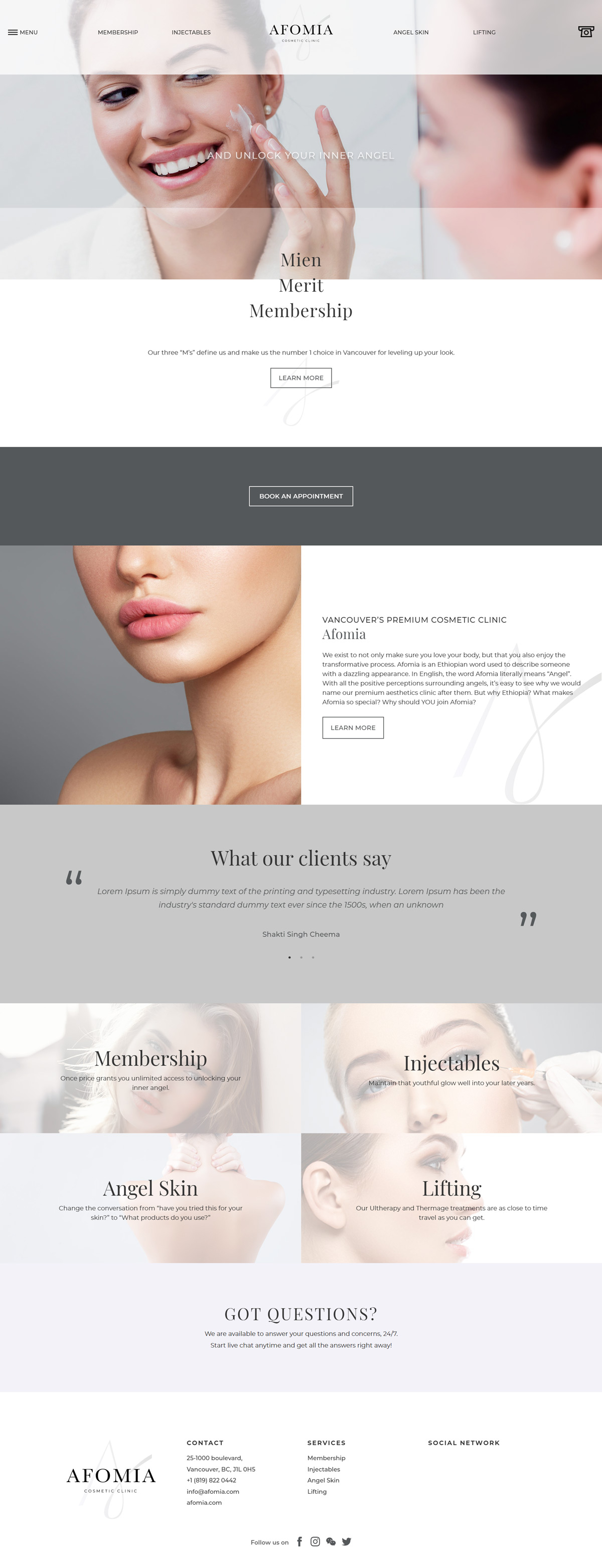 Afomia Cosmetic Clinic Website