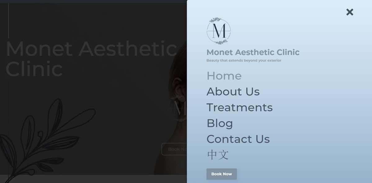 Monet Aesthetic Clinic Website menu